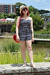 Strapless Polka Dot Peplum Romper, White Sandals, and a Tan Straw Hat (19335873624).jpg