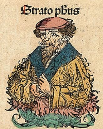 Strato of Lampsacus - Strato, depicted as a medieval scholar in the Nuremberg Chronicle