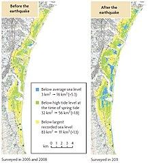 buy popular d9ebb 4df5a Subsidenz in der Sendai-Ebene  das Gebiet unter dem mittleren Meeresspiegel  (blau) vergrößerte sich nach dem Erdbeben (rechts) von 3 auf 16 km2, ...