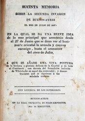 Sucinta memoria sobre la segunda invasion de Buenos-Ayres