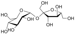 Carbohydrate - Sucrose, also known as table sugar, is a common disaccharide. It is composed of two monosaccharides: D-glucose (left) and D-fructose (right).