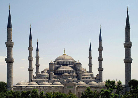 Sultan Ahmed Mosque, built in 1616, Istanbul, Turkey Sultan Ahmed Mosque Istanbul Turkey retouched.jpg