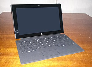 Touchpad - A Microsoft Surface tablet. The touchpad is the rectangle near the bottom.