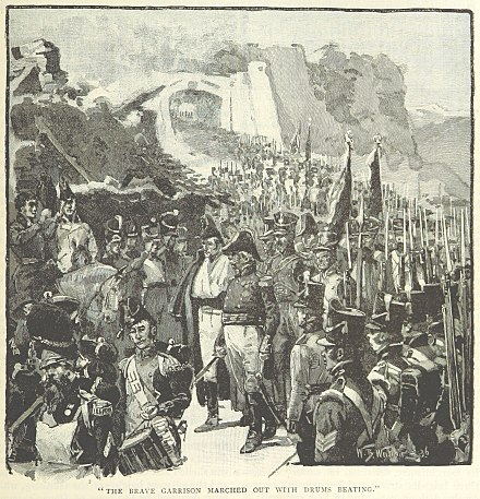 Rey and the garrison surrenders (from a British book) Surrender of Rey at San Sebastian.jpg