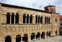 Photographie de la cathédrale d'Ohrid, d'architecture byzantine