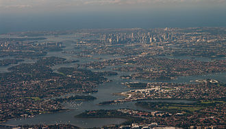 Parramatta River - Aerial view across the mouth of the Parramatta River as it reaches in Port Jackson, looking east
