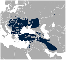 Syrian Woodpecker Dendrocopos syriacus distribution map.png