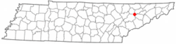 Location of Blaine, Tennessee
