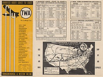 TWA coast-to-coast schedules and route map, September, 1933 TWA Transcontinental Routes and Map 1933.jpg
