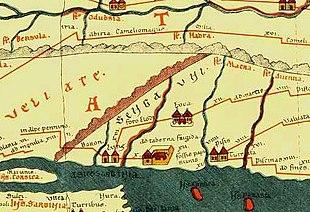 Tabula Peutingeriana: Pars IV - Segmentum IV, Rappresentazione delle zone Apuane con indicate le colonie di Pisa Lucca Luni, il nome Sengauni e, poco sotto, il Foro Clodi posto a XVI miglia romane da Luni, il tratto Pisa Luni non è ancora collegato