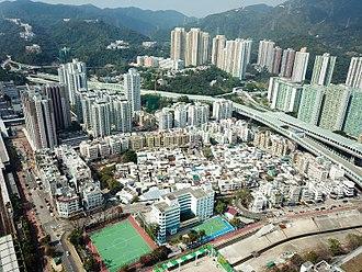 Tai Wai - Aerial view of Tai Wai Village and surrounding area in 2018.