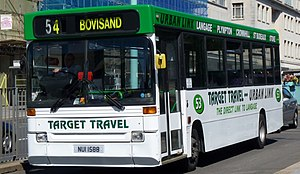Plaxton Pointer - Target Travel early, high-floor Plaxton Pointer bodied Dennis Dart in Plymouth in July 2010
