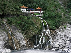 Temple atop the Taroko Waterfall