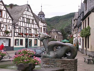 Swiss folklore - Tatzelwurm fountain in Kobern-Gondorf