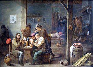 Tavern - Tavern Scene by Flemish artist David Teniers c. 1658