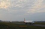 Taxiway of EDDT Tegel Airport, runway 26L , airplanes waiting for lineup, Berlin, Germany, 2015-10-18.jpg