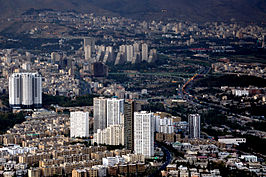 Tehran skyline view from top of Milad Tower