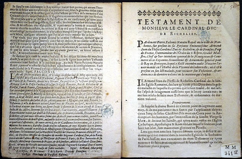 Testament duc de Richelieu 83365