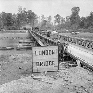 Tower Hamlets Engineers - Vehicles move over 'London Bridge' on the Orne during Operation Goodwood, 18 July 1944