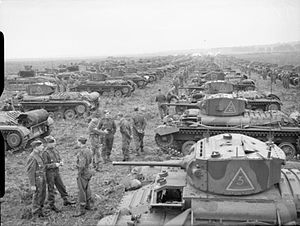 17th/21st Lancers - Valentine tanks of the 17th/21st Lancers near Brandon in Suffolk, England, 12 September 1941.