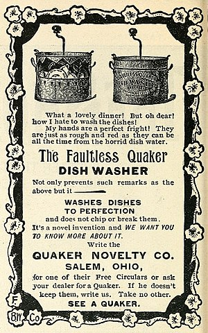 Dishwasher - Advertisement in an 1896 issue of McClure's for The Faultless Quaker Dishwasher.