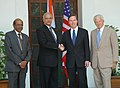 The Foreign Secretary, Shri Shiv Shankar Menon meeting with the visiting U.S. Under-Secretary of State for Political Affairs, Mr. Nicholas Burns, in New Delhi on June 01, 2007.jpg