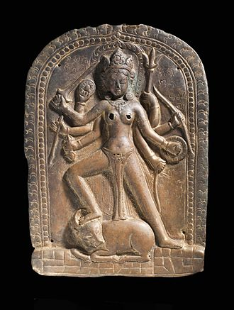 Devi Upanishad - Iconography found in sculpture and paintings of Devi as Durga, such as above from 11th century Nepal, is mentioned in the Devi Upanishad.