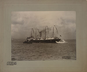 Lord Strathcona's Horse (Royal Canadians) - The Monterey leaving Halifax with Strathcona's Horse for South Africa, 17 March 1900