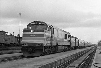 Palmetto (train) - The Palmetto at Florence, South Carolina, in 1977. A GE P30CH is in the lead.