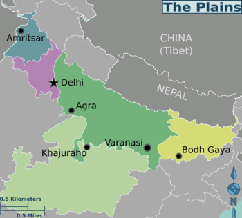 Plains india travel guide at wikivoyage plains india regions color coded map gumiabroncs Gallery