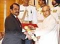The President, Shri Pranab Mukherjee presenting the Padma Shri Award to Dr. Mylswamy Annadurai, at a Civil Investiture Ceremony, at Rashtrapati Bhavan, in New Delhi on March 28, 2016.jpg