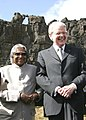 The President of Iceland Mr. Olafur Ragnar Grimsson accompanied by the President Dr. A.P.J Abdul Kalam visited Logberg, the ancient site in Iceland on May 31, 2005.jpg