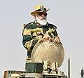 The Prime Minister, Shri Narendra Modi rides in Army tank at Longewala in Jaisalmer, Rajasthan on November 14, 2020 (1).jpg