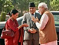 The Prime Minister of Nepal, Mr. Pushpa Kamal Dahal and Mrs. Sita Dahal being received by the Prime Minister, Shri Narendra Modi, at the Ceremonial Reception, at Rashtrapati Bhavan, in New Delhi on September 16, 2016.jpg