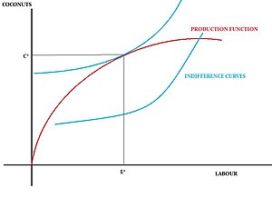 Robinson Crusoe economy - Figure 2: The Robinson Crusoe Economy's Production Function and Indifference Curves