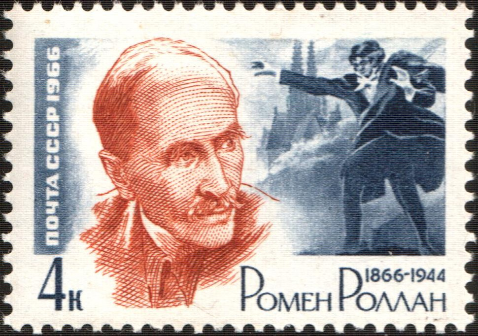 The Soviet Union 1966 CPA 3311 stamp (Birth Centenary French Writer Romain Rolland (1866-1944) (after Anatoly Yar-Kravchenko) and Scene from 'Jean-Christophe')