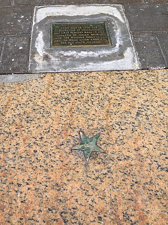 Worcester, Massachusetts - The Star on the Sidewalk indicates the spot of the first reading in New England of the Declaration of Independence in 1776.