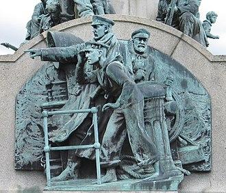 Port Sunlight War Memorial - Relief depicting the Naval Service