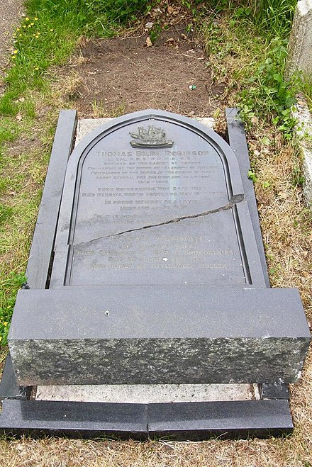The grave of Thomas B. Robinson in the churchyard of St Peter's, Kent The grave of Thomas B. Robinson in the churchyard of St Peter-in-Thanet, Kent.jpg