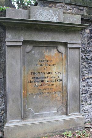 Morrison's Academy - The grave of Thomas Morison, St Cuthberts, Edinburgh