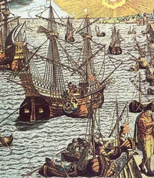 Singeing the King of Spain's Beard - Portuguese carracks unload cargo in Lissabon. Original engraving by Theodor de Bry, 1593, coloured at a later date.