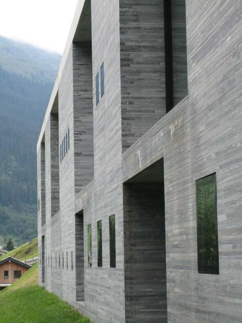 Therme Vals wall structure, Vals, Graubünden, Switzerland - 20060811