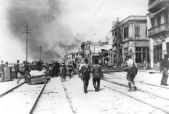 Great Thessaloniki Fire of 1917 - The fire as seen from the quay in 1917.