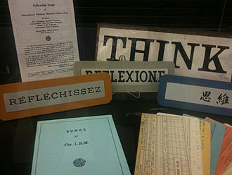 Computing-Tabulating-Recording Company - IBM song books with Think signs in several languages and punched cards.