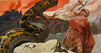 Vígríðr - The battle at Vígríðr raging behind them, the serpent Jörmungandr confronts the god Thor in an illustration (1905) by Emil Doepler.