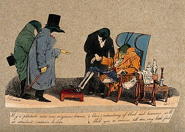 Coloured lithograph cartoon showing three leech doctors treating a grasshopper patient