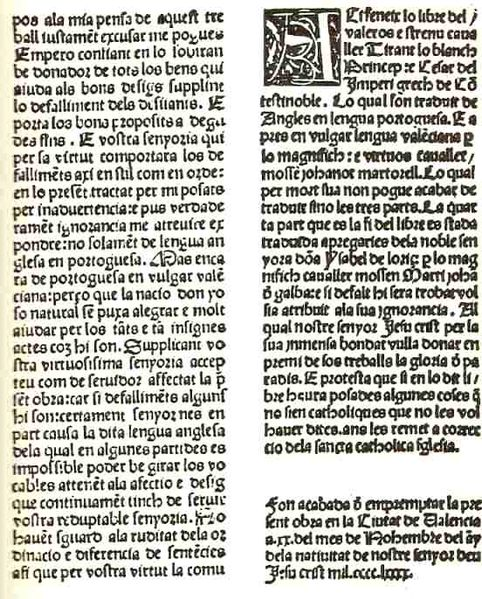 Incunable Tirant Lo Blanc