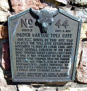 Ogden Canyon - Toll gate monument plaque