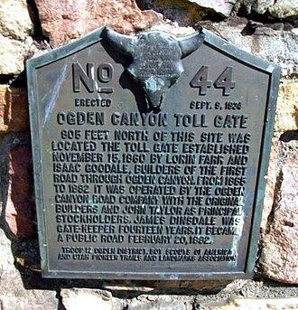 Ogden Canyon - Toll gate monument plaque
