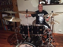 Tony Currenti with his brand new Pearl drum kit, May 2014.jpg